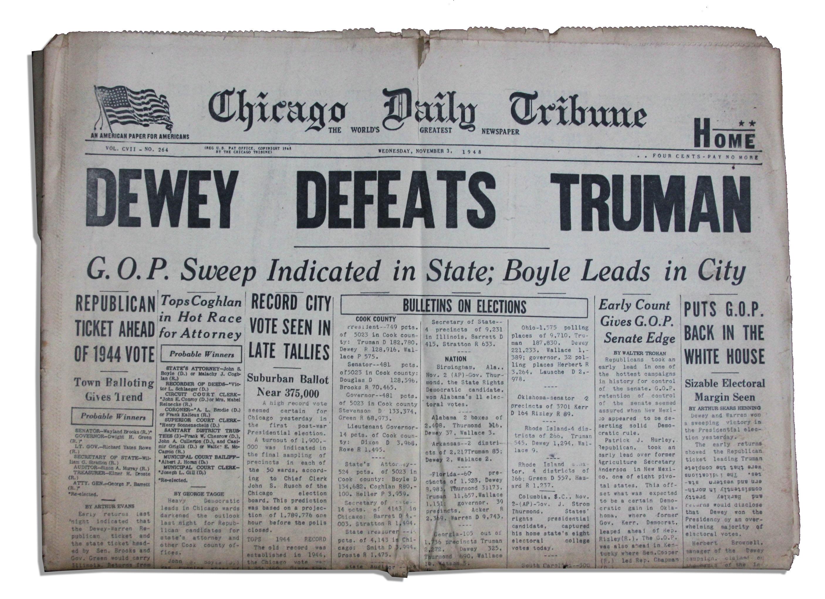 Headline Dewey Defeats Truman