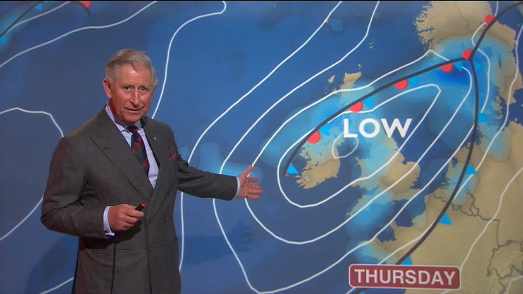 Prince Charles and Camilla turn weather presenters - BBC News
