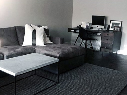 Boring Grey and black living room and home office