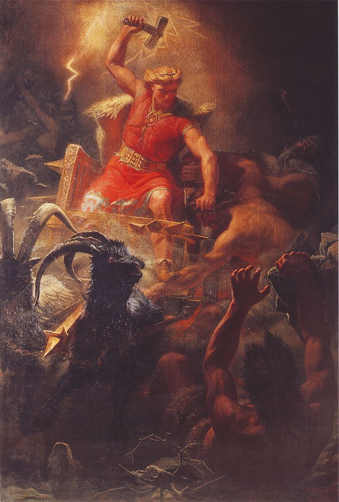 "Thor's Battle with the Giants"" by Mårten Eskil Winge (1872)"