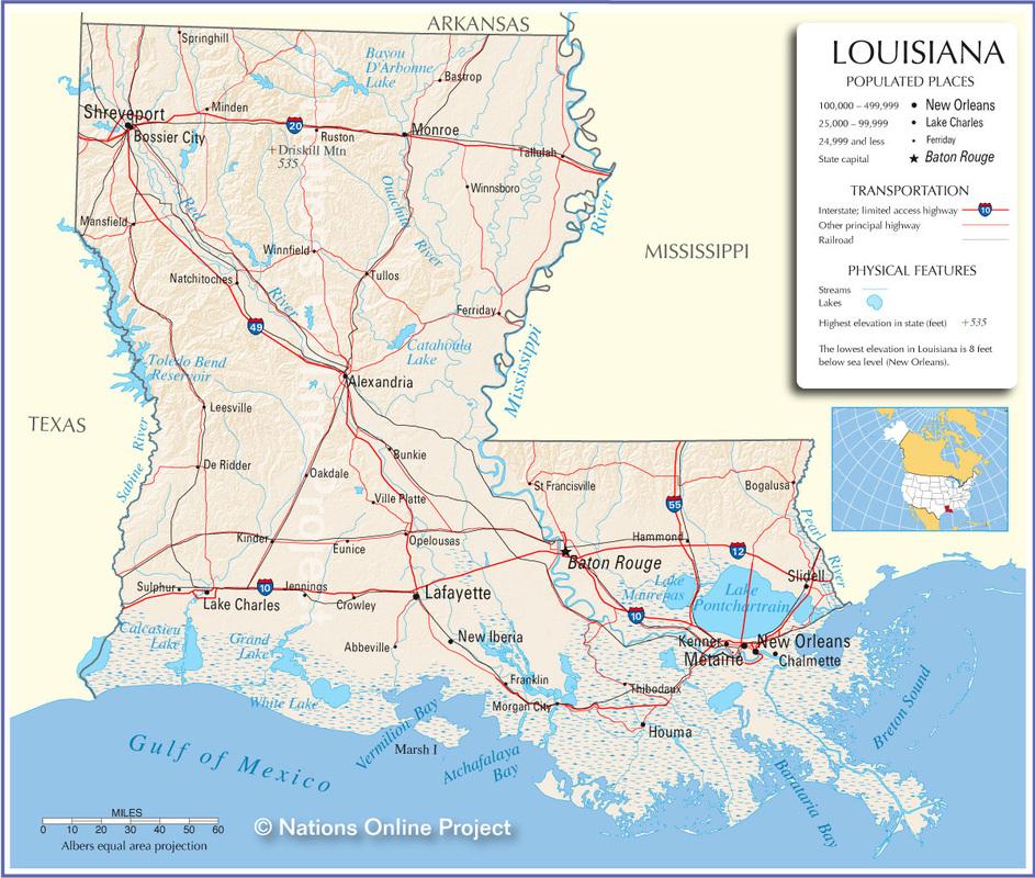 Major Land & Water Features - Louisiana
