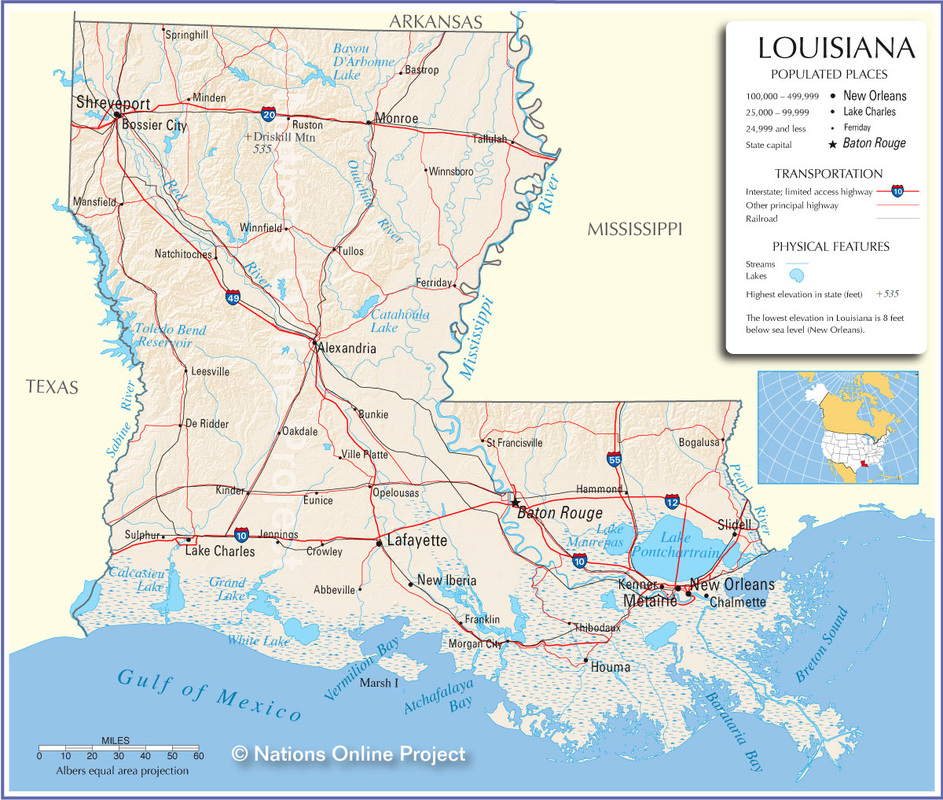 Major Land & Water Features - Louisiana