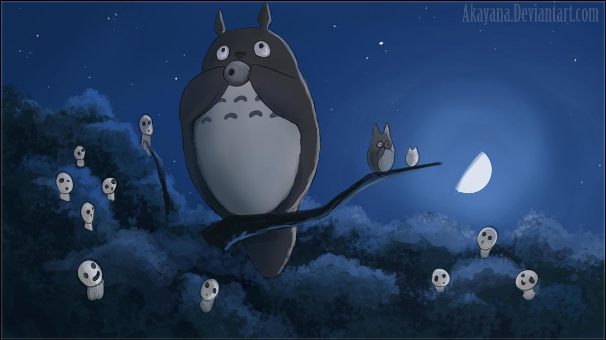 Totoro and Kodama by Akayana on DeviantArt