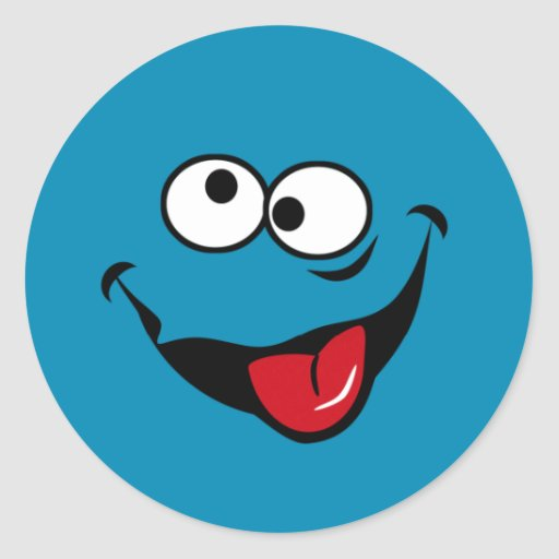 Funny smiley face cartoon blue background classic round sticker ...