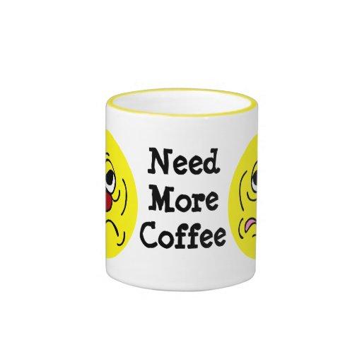 Sleepy Smiley Face Grumpey Ringer Coffee Mug | Zazzle