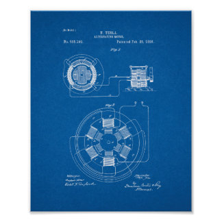 Tesla Alternating Motor Patent - Blueprint Poster