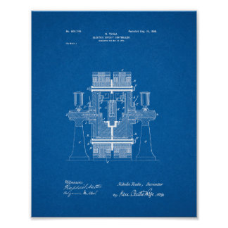 Tesla Electric Circuit Controller Patent - Bluepri Poster photocredit/thanks:pinterest