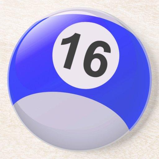 Number 16 Billiards Ball Beverage Coasters | Zazzle
