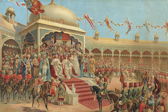 ... King George and Queen Mary seated on thrones at the Durbar in Delhi