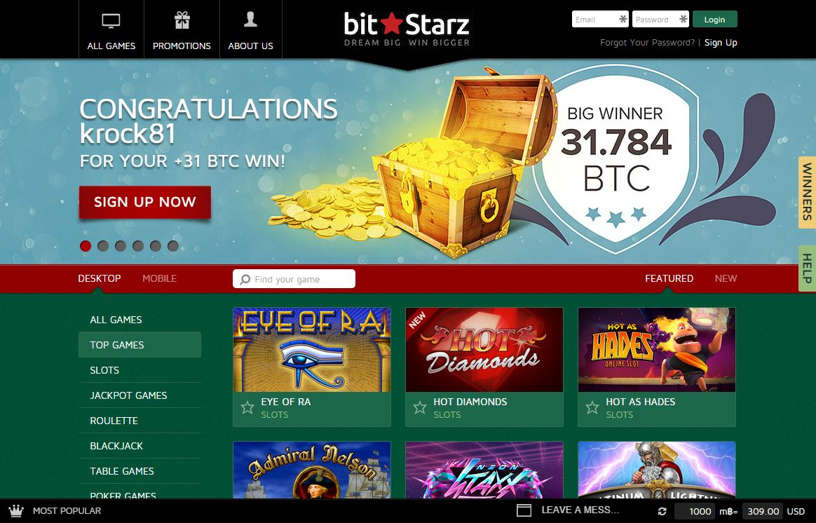 You can instantly go in and start playing bitcoin-accepting casinos on a real site that runs on the Bit Starz service.