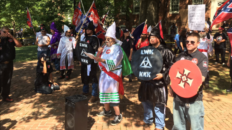... to protest Confederate statue removal; over 1,000 rally to protest KKK