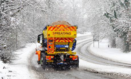 gritting lorry near Farningham, Kent, as the predicted snow arrives ...