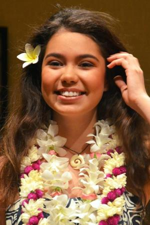 The 17-year old daughter of father (?) and mother(?), 162 cm tall Auli'i Cravalho in 2018 photo
