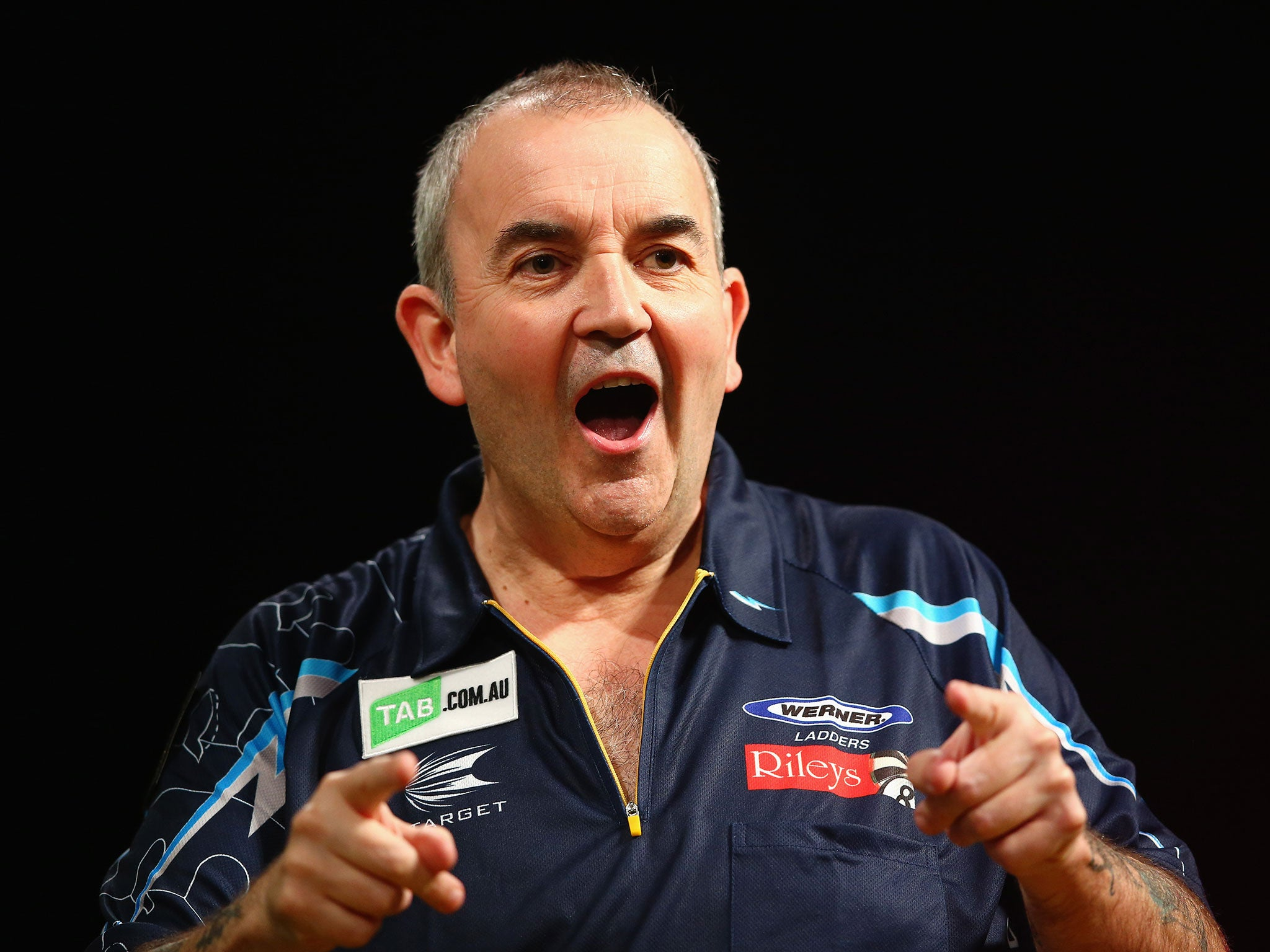 The 56-year old son of father (?) and mother(?), 172 cm tall Phil Taylor in 2017 photo