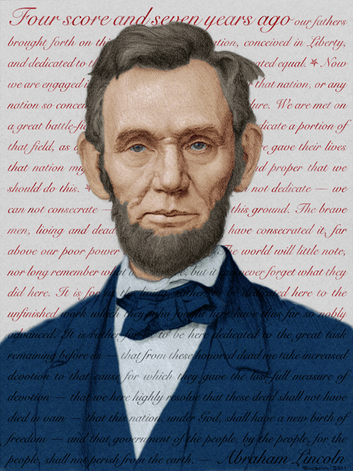 Digital illustration of Abraham Lincoln: patriotic palette