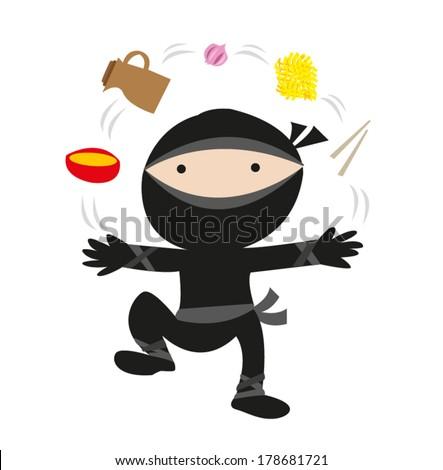 Ninja juggles kitchen stuff and food recipes. EPS10 vector - stock ...