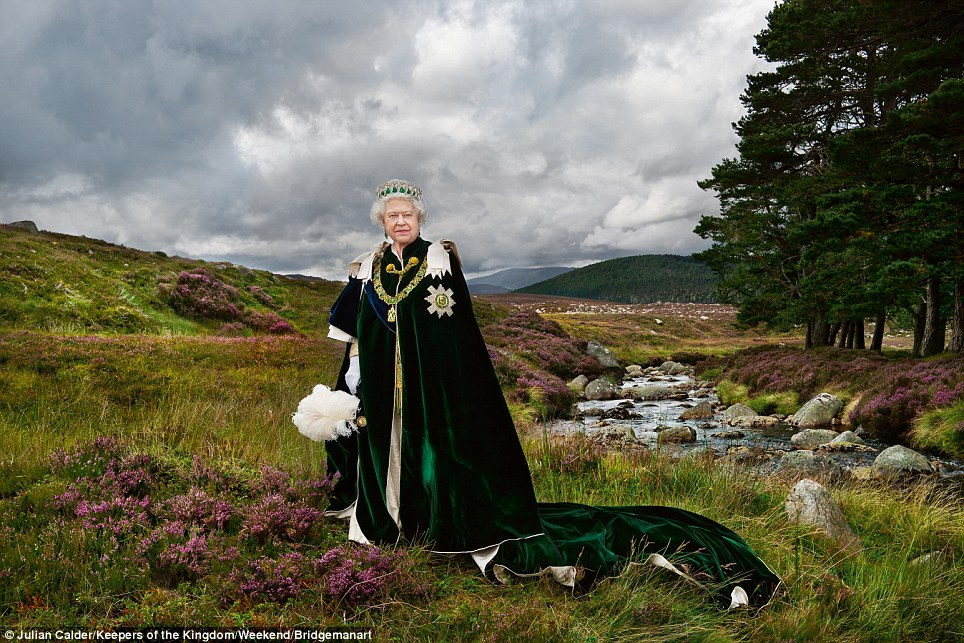 Queen at Balmoral Scotland wearing the Order of the Thistle. The motto ...