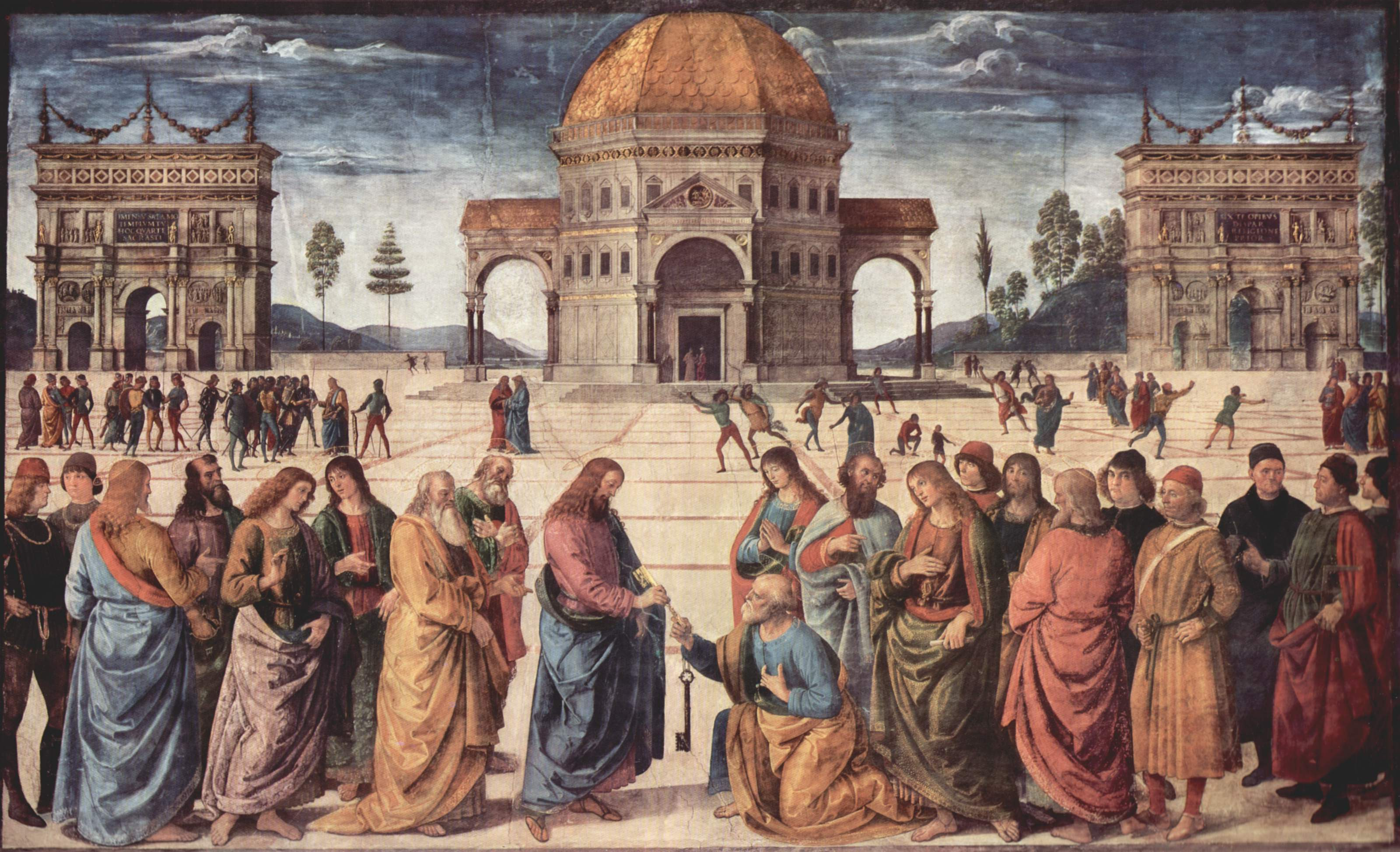 "... Perugino entitled ""Christ Giving the Keys to St. Peter"" (1480-81"
