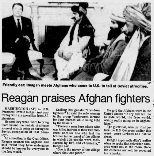 Misquote: Reagan Didn't Compare Taliban to Founding Fathers
