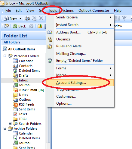 are using ms outlook 2007 tools account settings is present in outlook ...
