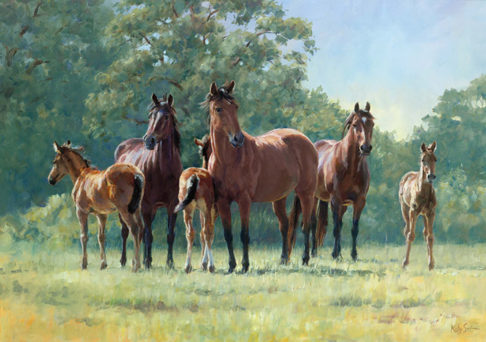 Sanctuary - Mares and Foals Print by Katy Sodeau