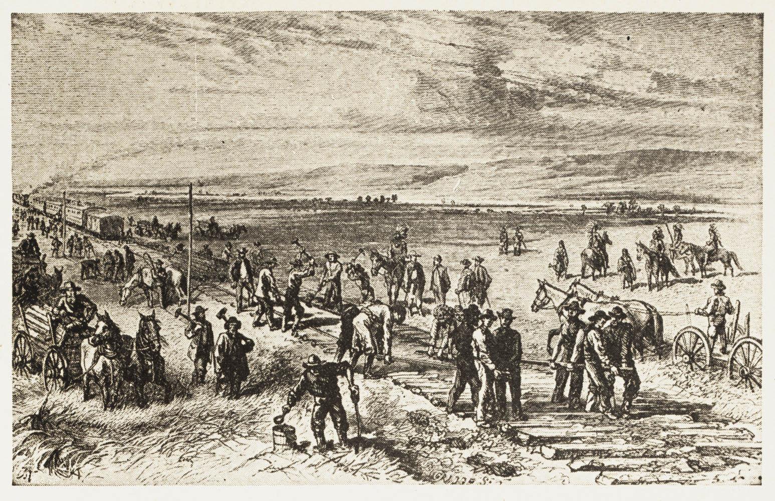 """Trabalhadores da rede férrea da """"Union Pacific Railroad"""" em Nebraska. A ilustração retrata membros da nação Pawee que protegem os trabalhadores. Image online via the Linda Hall Library (Kansas City, Missouri)"""