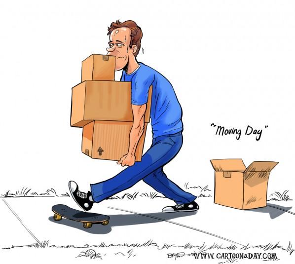 Moving Day Cartoon Boxes Cartoon