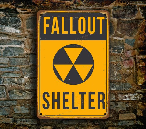 FALLOUT SHELTER SIGN - Man Cave Signs | Classic Metal Signs