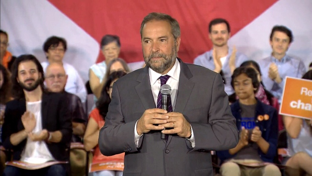 NDP Leader Thomas Mulcair speaks at a campaign event in Toronto, Aug ...