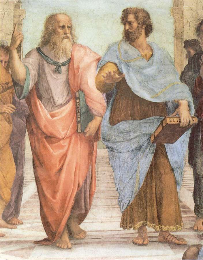 Fresco by Raphael (1483-1520). Plato and Aristotle ...