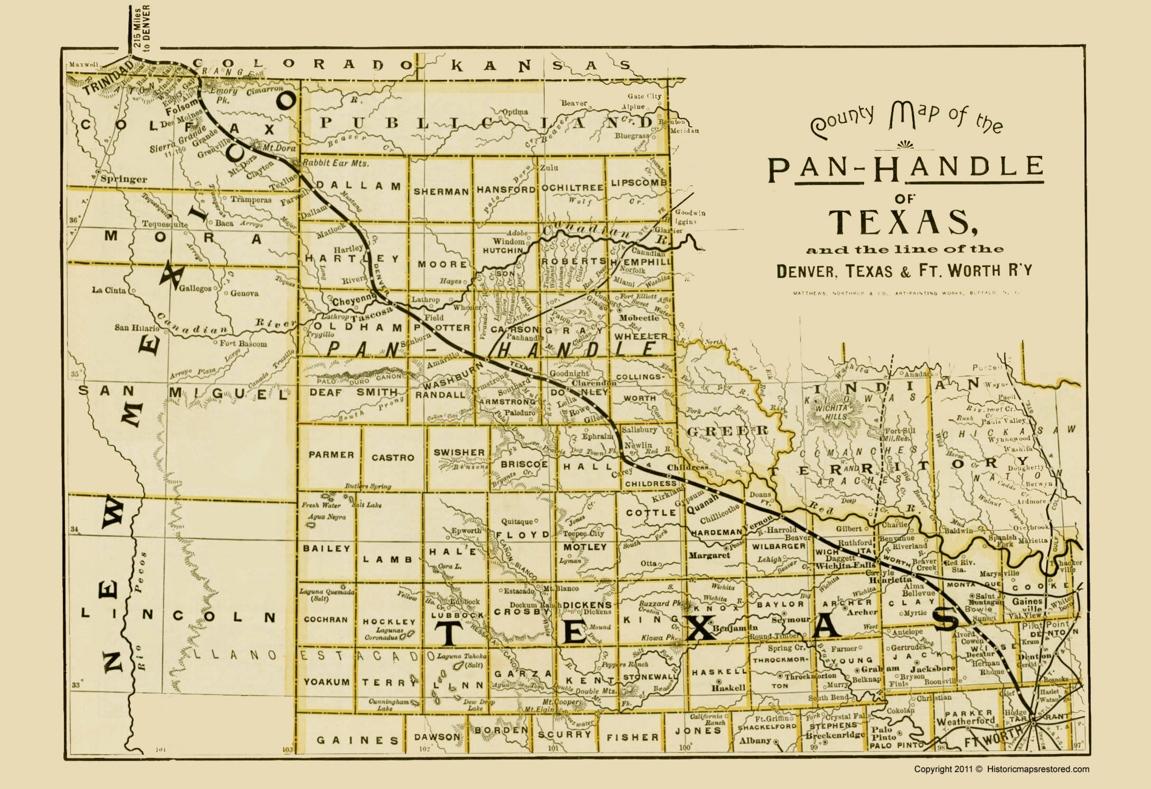 Old Railroad Maps | TEXAS PANHANDLE & DENVER/TEXAS/FT. WORTH RR BY NORTHRUP 1888