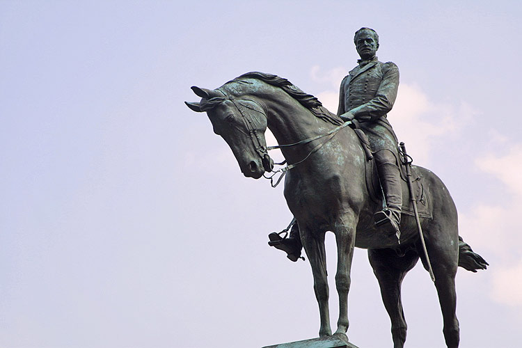 The General William Tecumseh Sherman memorial statue. This monument is ...