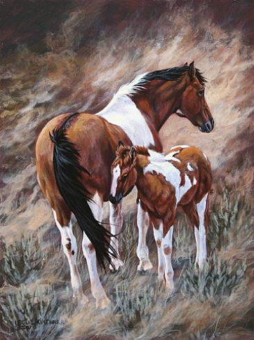 Paint Mare and Foal - Painting - Nature Art by Leslie Kirchner