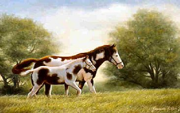Paint Mare and Foal - Painting - Nature Art by Jeanne Filler Scott