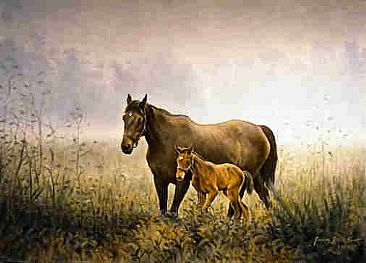 The Overgrown Pasture - Mare and Foal by Jeanne Filler Scott
