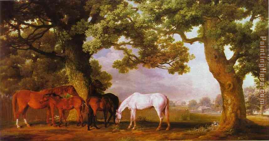 ... Stubbs - George Stubbs Mares and Foals in a Wooded Landscape Painting