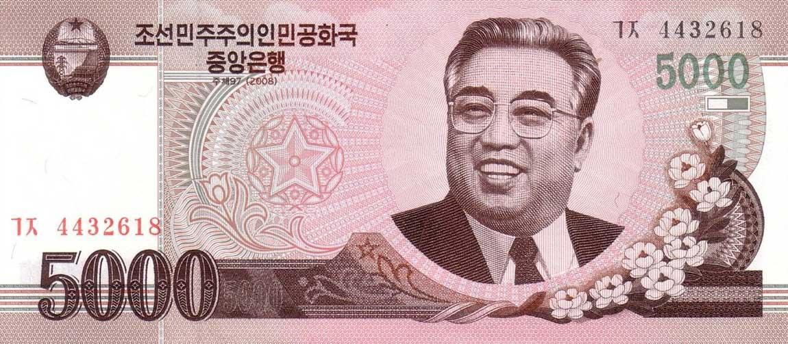 RealBanknotes.com > North Korea p66a: 5000 Won from 2002