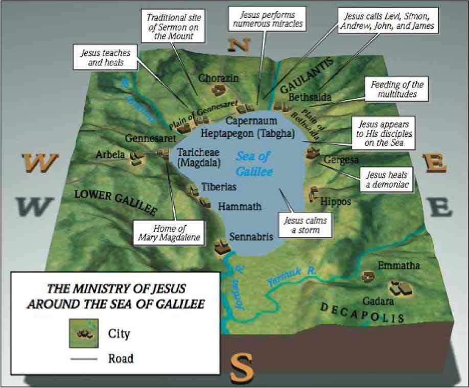 Sea of Galilee Map Jesus - Bing images