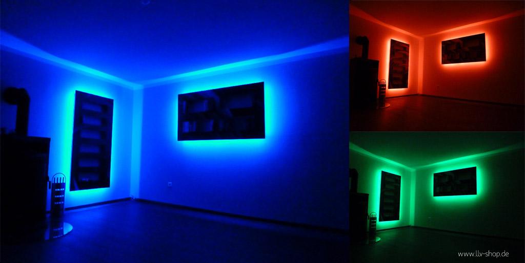 Neon lights behind TV