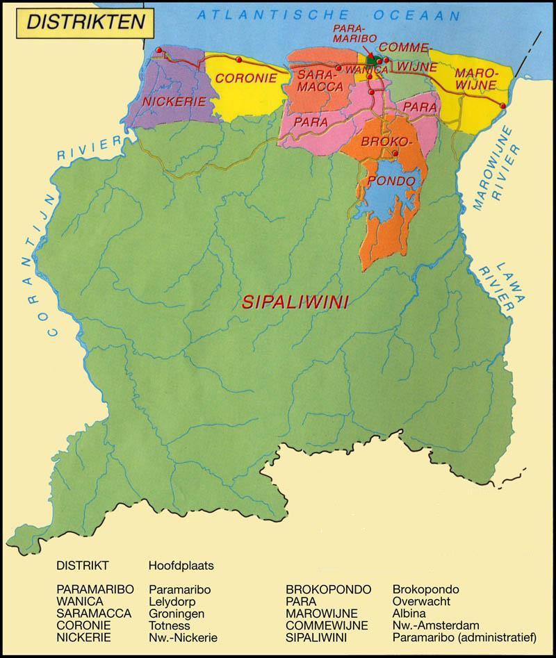 De districten van Suriname