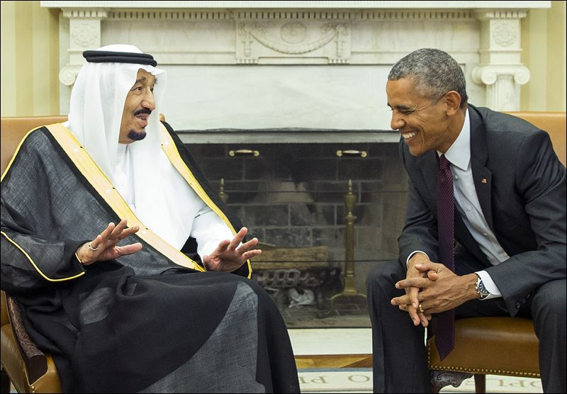 President Obama, right, meets with King Salman of Saudi Arabia in the ...