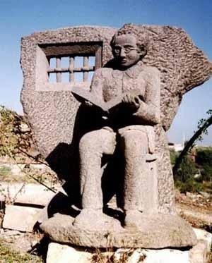 communist monument picturing Gramsci in prison