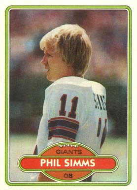 name on card phil simms card number 225 year 1980 set name 1980 topps ...
