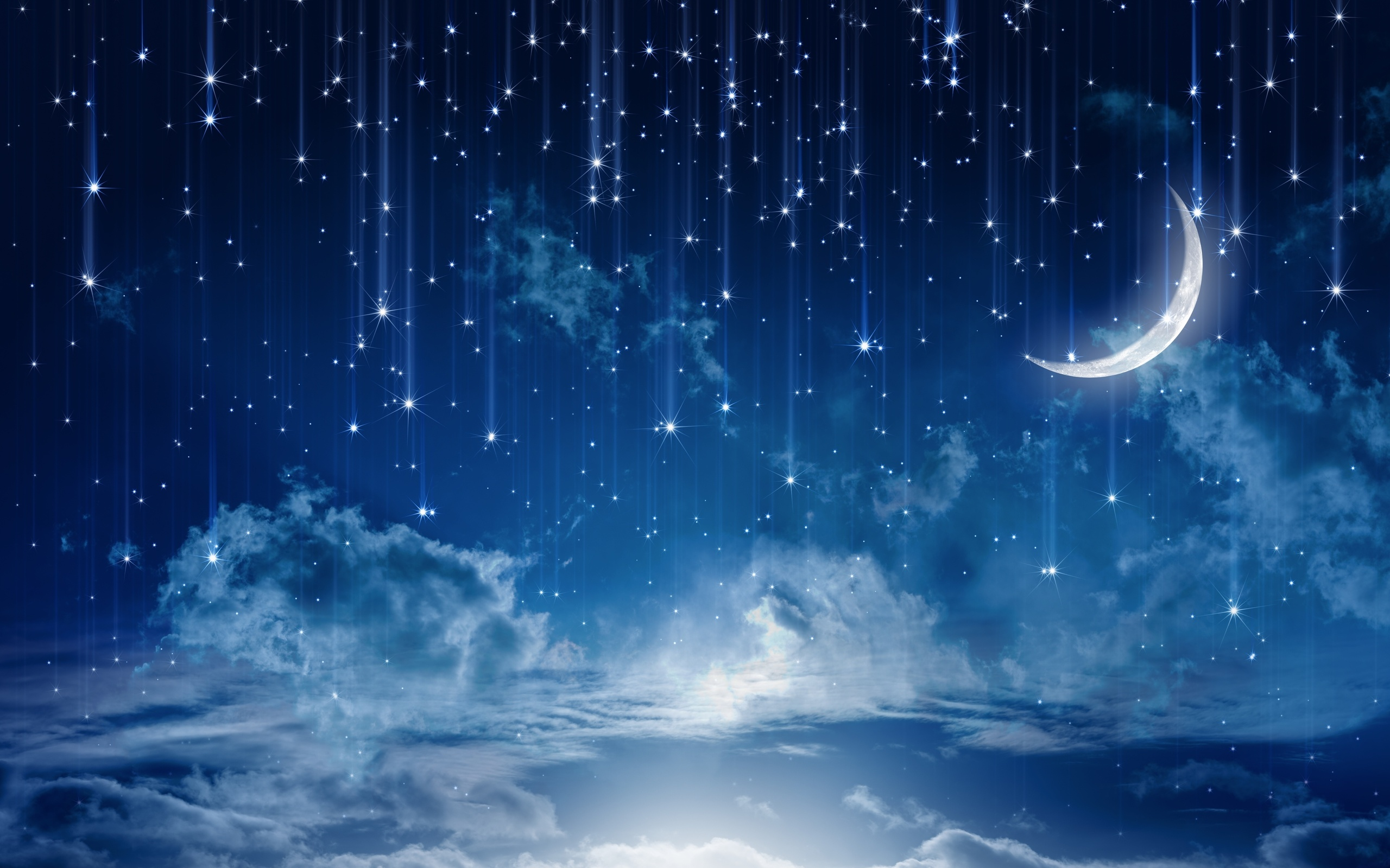 sky moonlight nature night stars clouds rain landscape moon wallpaper ...