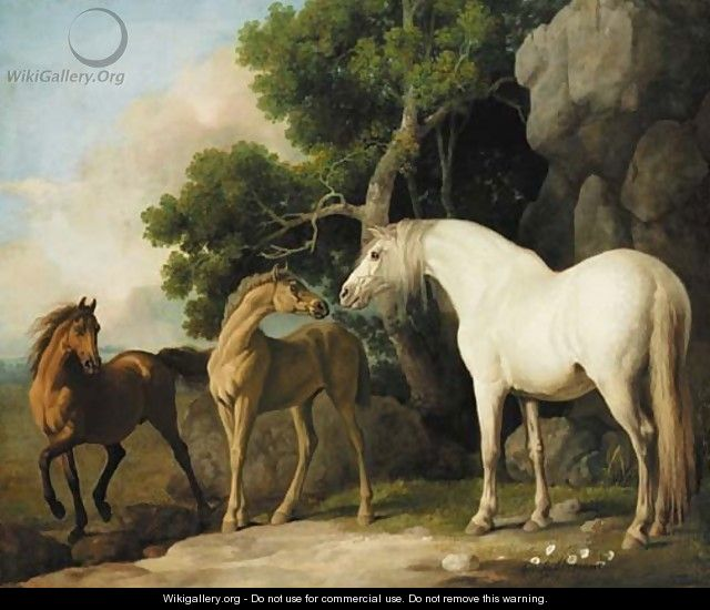 mare and foal with a bay horse - George Stubbs