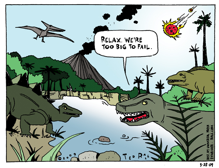 dinosaur too big to fail cartoon banks