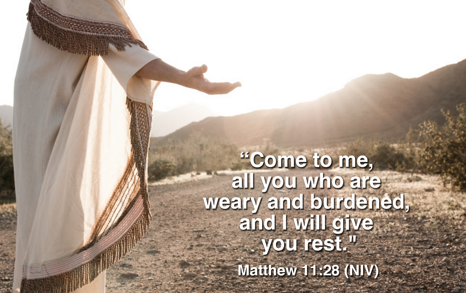 God's Will: Graphics with Matthew 11:28 - English and Romanian