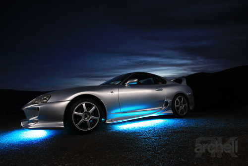 Light blue underglow on a Toyota Supra from Tumblr