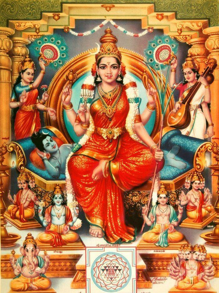 La luz emana de la Diosa Bhuvaneshwari cobra vida a través de ella.