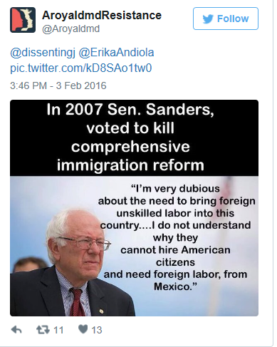 ... illegal immigration into the U.S. is actually contrary to his own vote